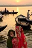 De zonsopgang van Ganges stock foto