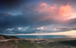 De Zonsopgang van het Meer van Qinghai Stock Fotografie