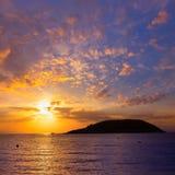 De zonsopgang van Mallorca in het strand van Magaluf Palmanova Royalty-vrije Stock Foto's