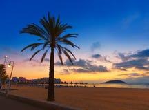 De zonsopgang van Mallorca in het strand van Magaluf Palmanova Royalty-vrije Stock Fotografie