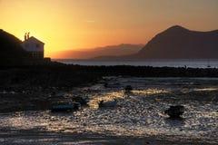 De zonsopgang van Nefyn van Morfa royalty-vrije stock afbeeldingen
