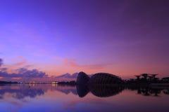 De Zonsopgang van Singapore bij de Nieuwe Botanische Tuin Stock Afbeeldingen