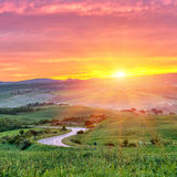 De zonsopgang van Toscanië Stock Afbeeldingen
