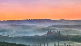 De zonsopgang van Toscanië Stock Afbeelding