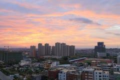 De zonsopgang van de Xindianstad, rgb adobe royalty-vrije stock fotografie
