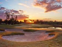 De Zonsopgang/de Zonsondergang van de golfcursus in Florida royalty-vrije stock fotografie