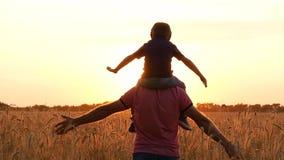 De zoon van de vaderholding op schouders, die de vlucht van de vliegtuigen imiteren Silhouet van een gelukkige familie bij zonson stock footage
