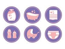 De zorg van de baby Badende Baby Geplaatste pictogrammen Vector illustratie die op witte achtergrond wordt geïsoleerdd royalty-vrije illustratie