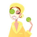 De zorg van de huid: Meisje dat kuuroord gezichtsmasker heeft royalty-vrije illustratie