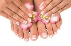 De zorg van de spijker voor de handen en de voeten van vrouwen Stock Foto