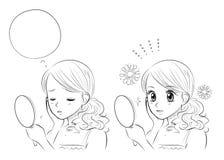 De zorg van de vrouwenhuid, Japanse Manga-stijl vector illustratie