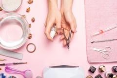 De zorg van de spijker manicure, sterilisatie, desinfectiehulpmiddel stock foto's
