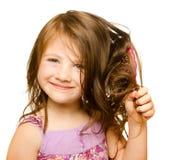 De zorgconcept van het haar met portret van meisje royalty-vrije stock foto's