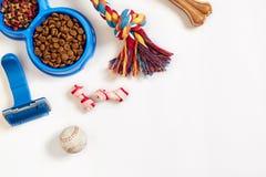 De zorgpunten van de hond, die op witte achtergrond worden geïsoleerde Droog voedsel voor huisdieren in kom, stuk speelgoed en be Royalty-vrije Stock Afbeelding