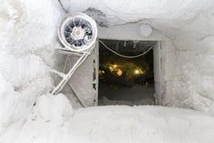 De zoute pan van Slanicprahova - de zoute ruimte van de oogstmachine Royalty-vrije Stock Foto's