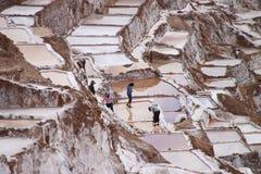 De zoute terrassen van Moray, Peru Stock Foto's