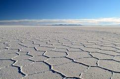 De zoute woestijn met wolken Stock Foto