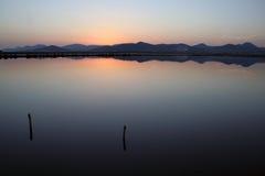 De Zoutmeren van het Meer van de zonsondergang Royalty-vrije Stock Fotografie