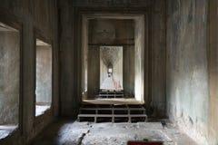 De zuidengalerij van de eerste gang van Angkor Wat in Siem oogst, Kambodja royalty-vrije stock afbeeldingen