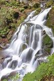 De zuivere en koude bergrivier loopt tussen rotsachtige stenen en stroomt in waterval Stock Afbeelding