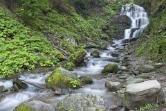 De zuivere en koude bergrivier loopt tussen rotsachtige stenen en stroomt in waterval Royalty-vrije Stock Foto's