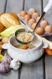 De zure die roggesoep van soured roggebloem en vlees wordt gemaakt Royalty-vrije Stock Foto