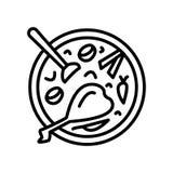 De zure die vector van het soeppictogram op witte achtergrond, Zuur soepteken wordt geïsoleerd royalty-vrije illustratie