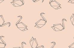 De zwaan naadloos patroon van de origamivogel Stock Afbeeldingen