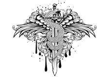 De zwaardvleugels kronkelen patronen Stock Afbeelding