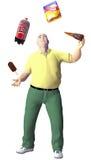 De zwaarlijvige mens jongleert met het voedsel van de troepsnack Stock Fotografie