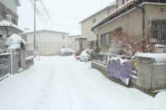 De zwaarste sneeuw in decennia op Tokyo en ander gebied van Japan Royalty-vrije Stock Foto
