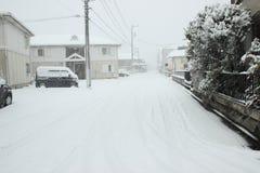 De zwaarste sneeuw in decennia op Tokyo en ander gebied van Japan Royalty-vrije Stock Afbeeldingen