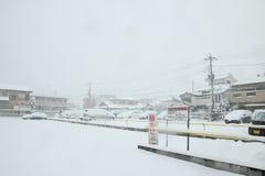 De zwaarste sneeuw in decennia op Tokyo en ander gebied van Japan Stock Foto's