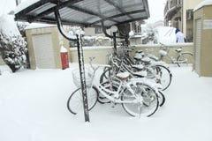 De zwaarste sneeuw in decennia op Tokyo en ander gebied van Japan Royalty-vrije Stock Fotografie