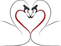 De zwanen van de liefde met rood hart - uit de vrije hand illustratie Royalty-vrije Stock Foto's