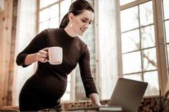 De zwangere vrouw die van Nice over laptop leunen stock afbeeldingen