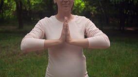 De zwangere vrouw die yoga in het park op het tapijt doen, die zich in bevinden stelt op één been, asanas Vrikshasana, stelt de b stock video
