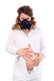 De zwangere vrouw en het ademhalingsapparaat houden buik Stock Afbeeldingen