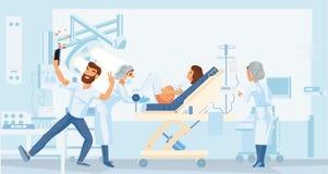De zwangere vrouw geeft geboorte in het ziekenhuis stock illustratie