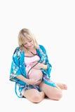 De zwangere vrouw isoleert royalty-vrije stock afbeeldingen