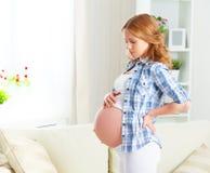 De zwangere vrouw met rugpijn en vermindert terug Royalty-vrije Stock Foto's