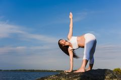 De zwangere vrouw oefent yoga naast rivier uit stock foto