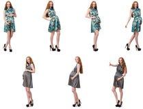 De zwangere vrouw in samengesteld die beeld op wit wordt geïsoleerd Stock Fotografie