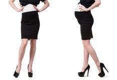 De zwangere vrouw in samengesteld die beeld op wit wordt geïsoleerd Stock Foto's