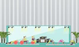 De zwangere vrouwen doen oefening en yoga in geschiktheidscentrum Gymnastiek binnenlandse vectorillustratie Stock Foto