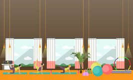 De zwangere vrouwen doen oefening en yoga in geschiktheidscentrum Gymnastiek binnenlandse vectorillustratie Stock Afbeelding
