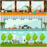 De zwangere vrouwen doen oefeningsyoga in geschiktheidscentrum en park Gymnastiek binnenlandse vectorillustratie Stock Foto
