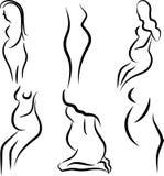 De zwangere vrouwen silhouetteren vectorreeks Royalty-vrije Stock Fotografie