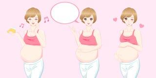 De zwangere vrouwen van het schoonheidsbeeldverhaal vector illustratie