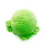 De zware groene lepel van het kleurenroomijs Stock Afbeeldingen